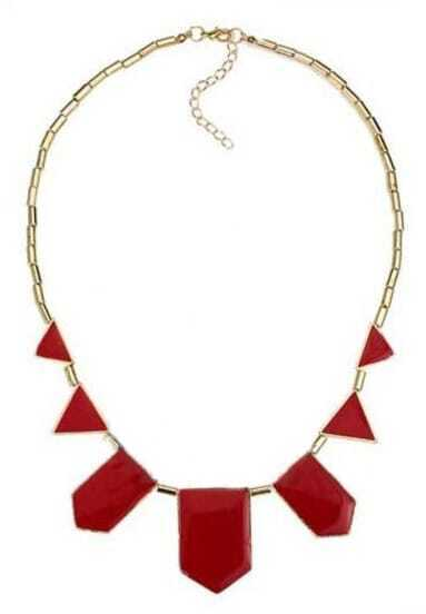 Red Geometric Gold Necklace