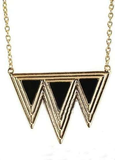 Black Triangle Splice Gold Necklace