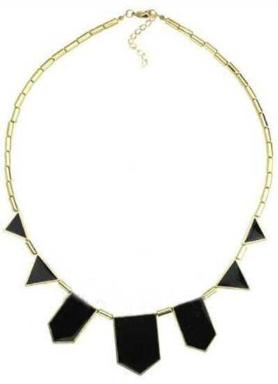 Black Geometric Gold Necklace