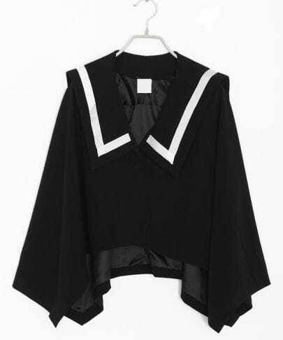 Navy Asymmetrical Single Button Cotton Capes