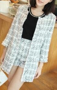 White Plaid Three Quarter Length Sleeve Fringe Trims Tweed Coat with Shorts