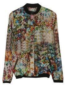 Muitcolor Dip Dye Floral Print Zip Pockets Bomber Jacket