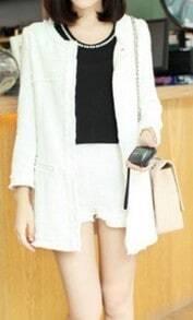 White Three Quarter Length Sleeve Fringe Trims Tweed Coat with Shorts