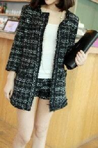Black Plaid Three Quarter Length Sleeve Fringe Trims Tweed Coat with Shorts