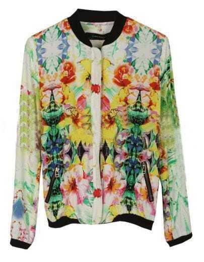 White Dip Dye Floral Print Zip Pockets Bomber Jacket