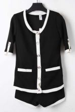 Black Short Sleeve Contrast White Trims Coat with Shorts