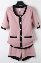 Pink Short Sleeve Contrast White Trims Coat with Shorts