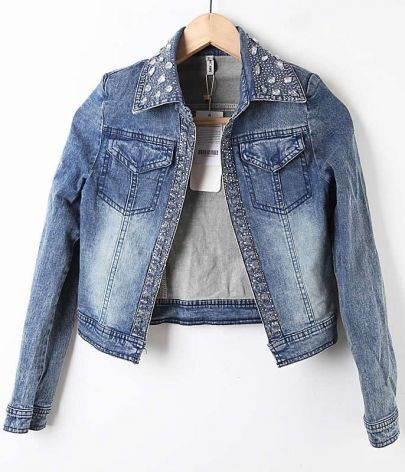 Blue Lapel Rhinestone Crop Denim Coat