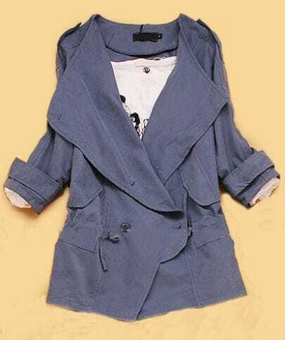 Blue Double Breasted Batwing Trench Coat