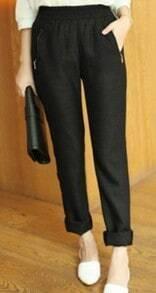 Black Elastic Waist Zip Pockets Linen Harem Pant