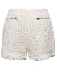 Beige Zip Embellished Pockets Front Fringe Trims Tweed Shorts