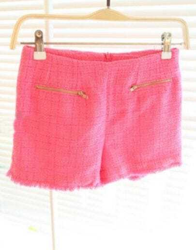 Rose Red Zip Embellished Pockets Front Fringe Trims Tweed Shorts