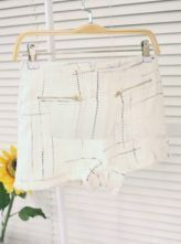 Beige Black Zip Pockets Fringe Trims Tweed Shorts