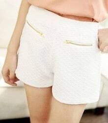 White Zip Embellished Pockets Front Shorts