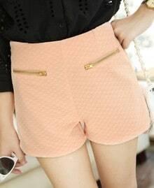 Pink Zip Embellished Pockets Front Shorts