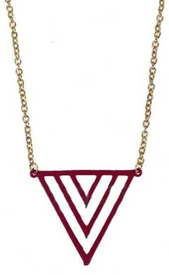 Purple Gradual change Triangle Gold Long Necklace