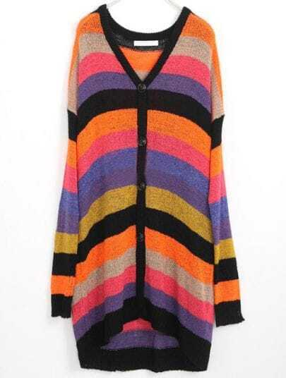 Multi Striped Single Breasted Batwing Sweater