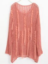 Dark Pink Hollow Embroidery Tassel Cotton Sweater