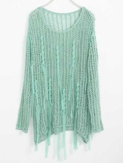 Light Green Hollow Embroidery Tassel Cotton Sweater