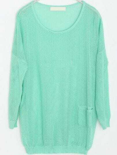 Green Hollow Mesh Yoke Pockets Cotton Sweater
