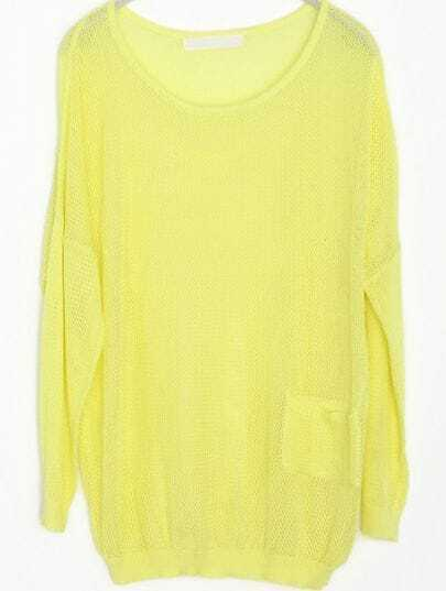 Yellow Hollow Mesh Yoke Pockets Cotton Sweater