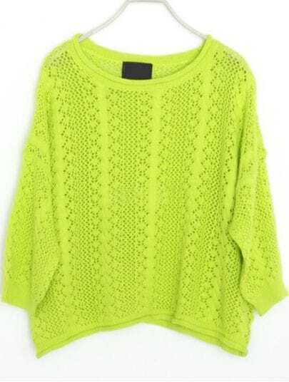 Green Hollow Embroidery Batwing Cotton Sweater