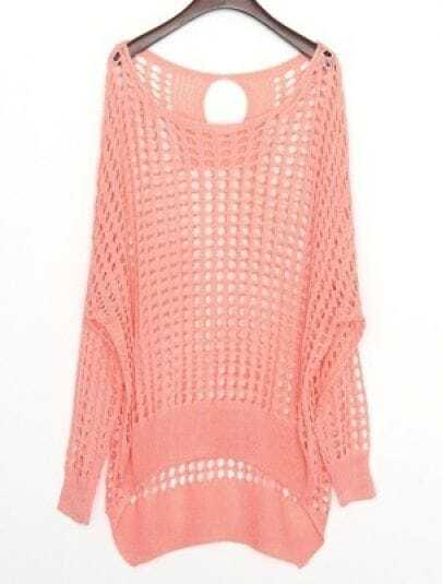 Pink Hollow Batwing Long Sleeve Cotton Sweater