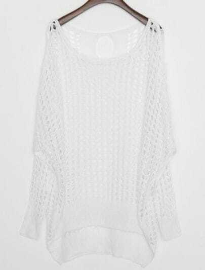 White Hollow Batwing Long Sleeve Cotton Sweater