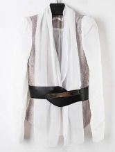 White Single Button Drawstring Waist Chiffon Suit