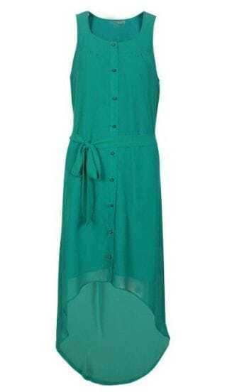 Green Single Breasted Drawstring Waist Chiffon Dress