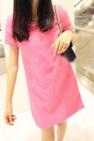 Rose Red Short Sleeve Perals Embellished Slim Short Tweed Dress
