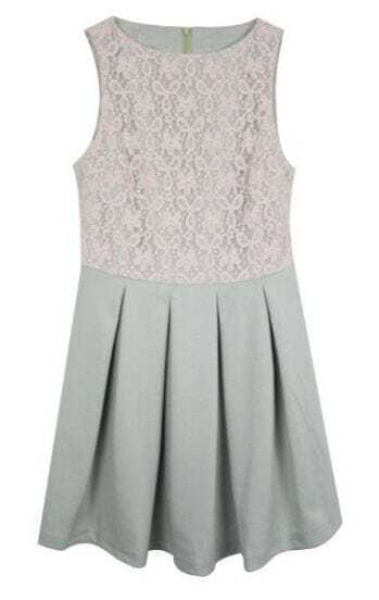 Mint Sleeveless Lace Top Zip Back Pleated Short Dress