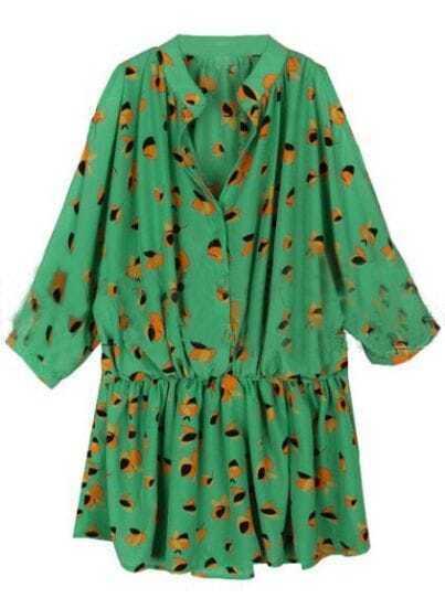 Green Round Neck Elasic Waist Floral Dress