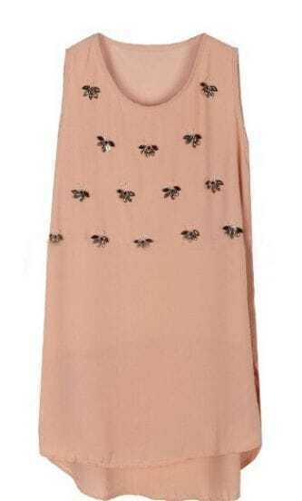 Pink Sleeveless Rhinestone Flowers Chiffon Dress
