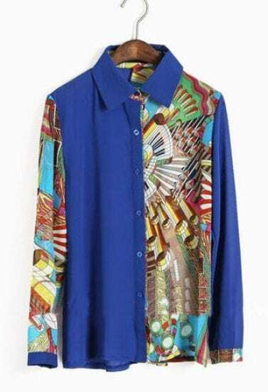 Blue Lapel Single Breasted Geometric Print Chiffon Shirt