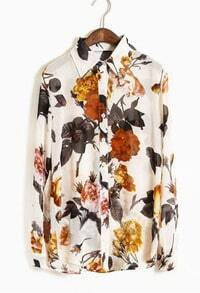 White Lapel Single Breasted Floral Chiffon Shirt