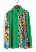 Green Lapel Single Breasted Geometric Print Chiffon Shirt