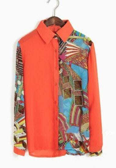 Orange Lapel Single Breasted Geometric Print Chiffon Shirt