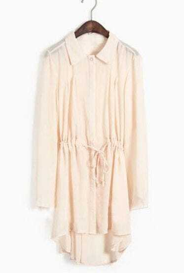 Apricot Single Breasted Drawstring Waist Chiffon Shirt