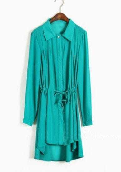 Green Single Breasted Drawstring Waist Chiffon Shirt