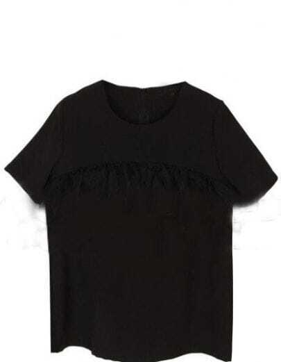 Black Round Neck Ruffles Zipper Cotton Shirt