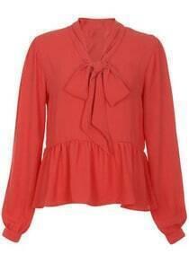 Orange High Neck Bow Chiffon Shirt