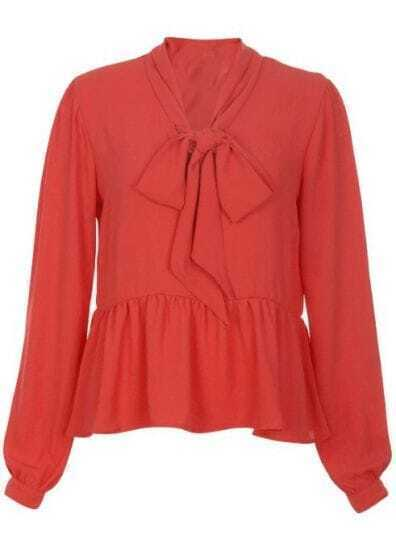 Orange High Neck Bow Chiffon Shirt
