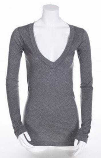 Grey V Neck Long Sleeve Slim Modal T-Shirt