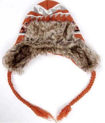 Orange Geo Print Sweater Russian Style Hat with Faxu Fur