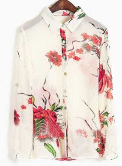 White Long Sleeve Red Flowers Print Sheer Chiffon Blouse