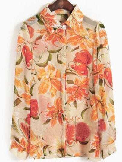 Orange Lily Flowers Print Long Sleeve Chiffon Blouse