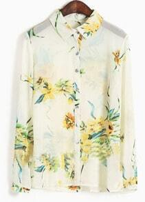 White Long Sleeve Yellow Flowers Print Sheer Chiffon Blouse