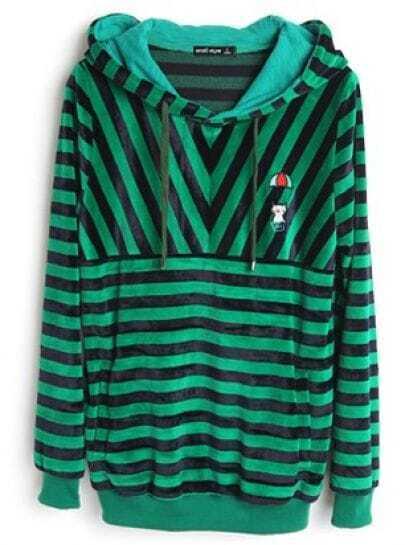 Navy Green Stripes Long Sleeve Drawstring Hoodie Sweatshirt