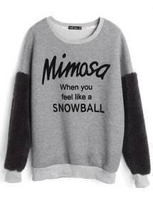 Grey Sherpa Sleeve Mimosa SNOWBALL Print Sweatshirt